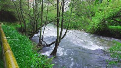 Río Luiña a su paso por el Paseo del Vino (Cangas del Narcea)