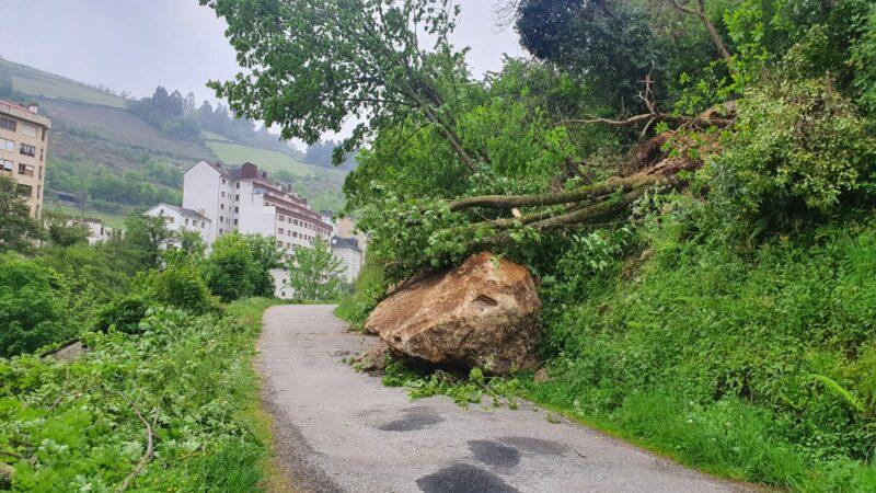 Abierto el paso en la carretera de Llamas de Ambasaguas afectada por un desprendimiento